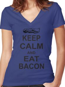 Keep Calm and Eat Bacon T-Shirt Funny Parody Meat TEE Food Pig Hog Breakfast Women's Fitted V-Neck T-Shirt