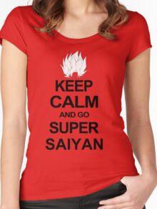 KEEP CALM AND GO SUPER SAIYAN T-Shirt Tee Dragon DBZ Ball Goku Z Vegeta Anime Women's Fitted Scoop T-Shirt
