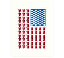 Beer Pong Drinking Game American Flag Art Print