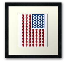 Beer Pong Drinking Game American Flag Framed Print