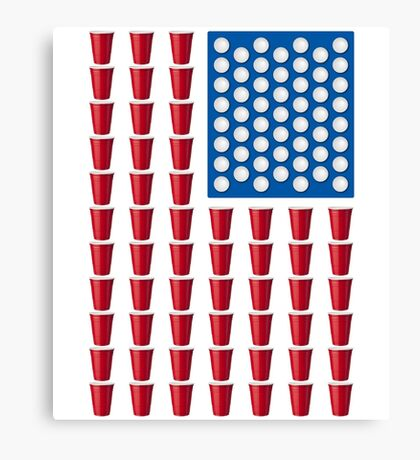 Beer Pong Drinking Game American Flag Canvas Print