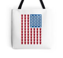 Beer Pong Drinking Game American Flag Tote Bag