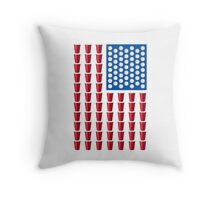 Beer Pong Drinking Game American Flag Throw Pillow