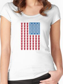 Beer Pong Drinking Game American Flag Women's Fitted Scoop T-Shirt