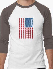 Beer Pong Drinking Game American Flag Men's Baseball ¾ T-Shirt