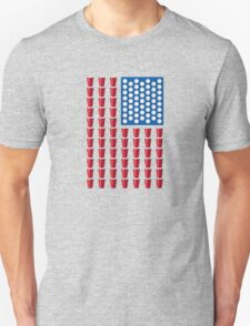 Beer Pong Drinking Game American Flag T-Shirt