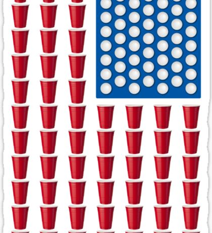 Beer Pong Drinking Game American Flag Sticker