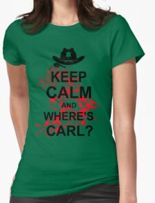 KEEP CALM AND WHERE'S CARL TSHIRT The Walking Zombie TEE APOCALYPES FUNNY Dead Womens Fitted T-Shirt