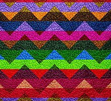 Leather Colorful Chevron Stripes Pattern by Nhan Ngo