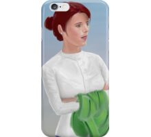 Beautiful Woman Waiting, with Crossed Hands Looking to the Horizon  iPhone Case/Skin