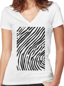 Skin of a zebra Women's Fitted V-Neck T-Shirt