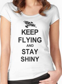 Keep Flying and Stay Shiny T Shirt Serenity Firefly Calm Carry Tee Browncoats Women's Fitted Scoop T-Shirt