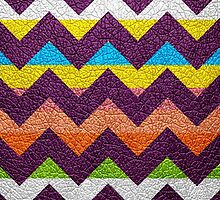 Leather Colorful Chevron Stripes Pattern #2 by Nhan Ngo
