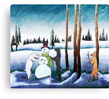 Cats Building a Snowman Canvas Print