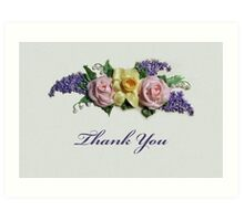 Thank You, Floral Botanical Design, Daffodil and Roses Art Print