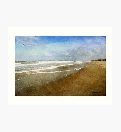 Lone Walker ~ Rough and Foamy Ocean  Art Print