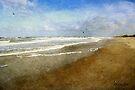 Lone Walker ~ Rough and Foamy Ocean  by SummerJade