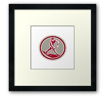 Field Hockey Player Running With Stick Retro Framed Print
