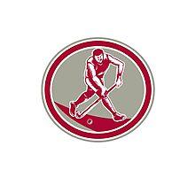 Field Hockey Player Running With Stick Retro Photographic Print