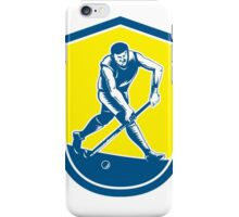 Field Hockey Player Running With Stick Shield Retro iPhone Case/Skin
