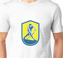 Field Hockey Player Running With Stick Shield Retro Unisex T-Shirt
