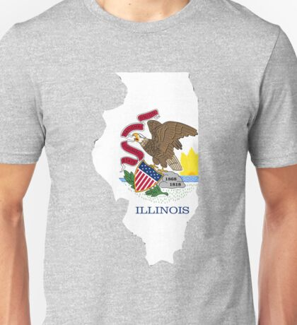 Illinois outline with flag Unisex T-Shirt