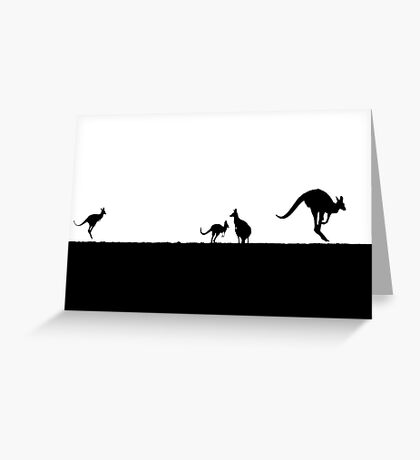 Kangaroos silhouettes at Sunset Greeting Card