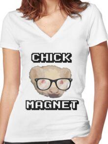 Ferret - CHICK MAGNET Women's Fitted V-Neck T-Shirt