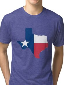 Texas outline with flag Tri-blend T-Shirt