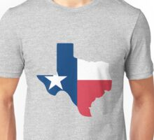 Texas outline with flag Unisex T-Shirt