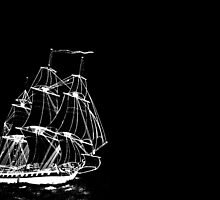 HMS Boreas Captained by Horatio Nelson on black by Dennis Melling