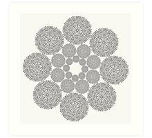Black lace flower pattern on white background Art Print