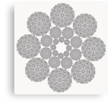 Black lace flower pattern on white background Canvas Print