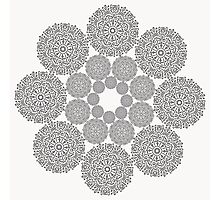 Black lace flower pattern on white background Photographic Print