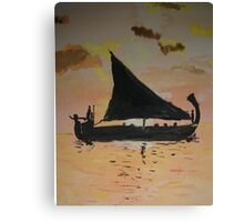 Sailing in sunset Canvas Print
