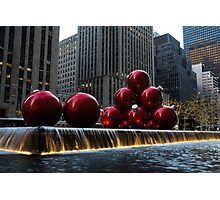 A Christmas Card from New York City - a 5th Avenue Fountain with Giant Red Balls Photographic Print