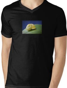 Snail with shell on leaf in detail Mens V-Neck T-Shirt