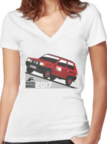 Fiat Panda personalized for June Women's Fitted V-Neck T-Shirt