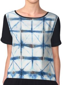 Barbed Wire in Indigo Chiffon Top