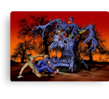 Weird Cursed British blue Phone box Monster Canvas Print
