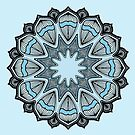 Mandala Blue Green Gray Motif by Zehda