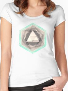 Jewel Lines 2 - Jade & Charcoal Women's Fitted Scoop T-Shirt