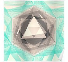 Jewel Lines 2 - Jade & Charcoal Poster