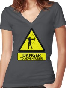 Danger to Adventurers Women's Fitted V-Neck T-Shirt