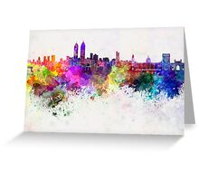 Mumbai skyline in watercolor background Greeting Card