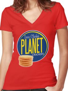 Isaac Clarke's Planet Crackers Women's Fitted V-Neck T-Shirt