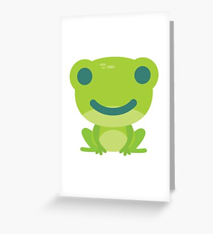 Frog Emoji Happy Smile Look Greeting Card