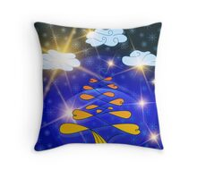 Festive texture for New year and Christmas, tree, new year tree, snowflakes and clouds Throw Pillow