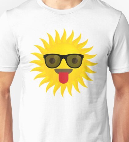 Sun Emoji Tongue Out with Sunglasses Unisex T-Shirt