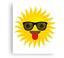 Sun Emoji Tongue Out with Sunglasses Canvas Print
